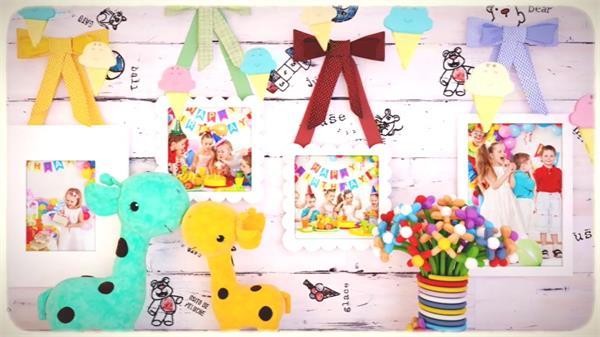 AE模板 六一儿童可爱缤纷童趣卡通宝贝相册展示幻灯片模版 AE素材