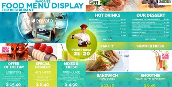 AE模板 創新色彩搭配演繹美味餐廳菜牌促銷宣傳片展示模板 AE素材