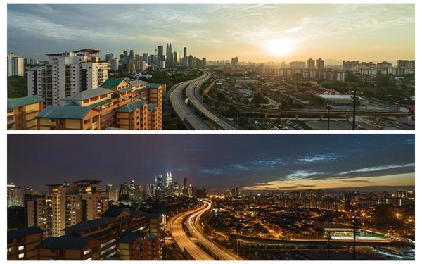 繁华城市建设高空观看远景太阳下山昼夜变化高清视频延时拍摄