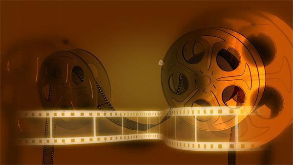 復古電影播放卷帶膠片旋轉懷舊氣氛視覺場景開場舞臺視頻素材