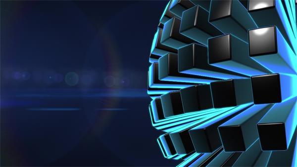 时代科技感炫酷蓝色柱体散发圆球旋转时尚新闻LED背景视频素材