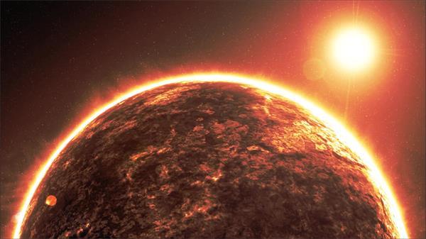 炫酷火焰星球旋转光效耀斑抽象虚拟视觉场景舞台背景视频素材