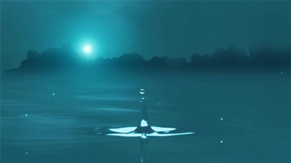 唯美荷塘月色水滴下落溅起水花涟漪荡漾水纹背景视频素材