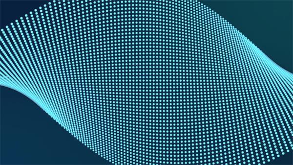 藍色顆粒群旋轉扭曲形成規則排列布局網格動感背景視頻素材