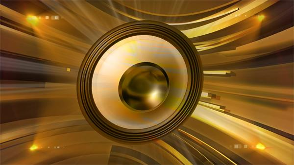 酷炫震动金色音响摆动科技线条运动渲染场景舞台派对视频素材