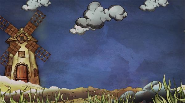 卡通儿童欢乐场景小草风车旋转云朵漂浮儿童动画背景视频素材