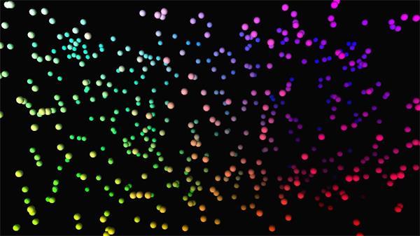 华丽缤纷色彩颗粒圆球自由运动视觉冲击粒子飞舞背景视频素材