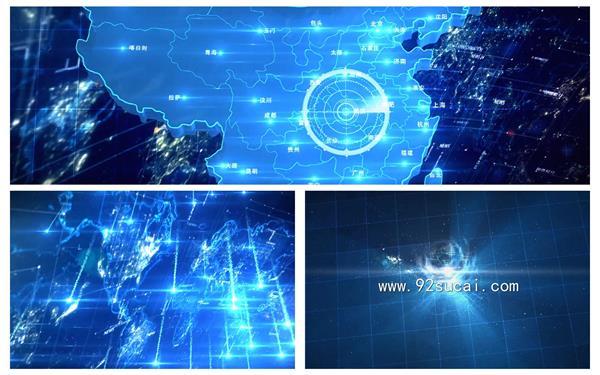 会声会影X8模板 酷炫科技商务流星舆图定位扫描渲染企业收场片头