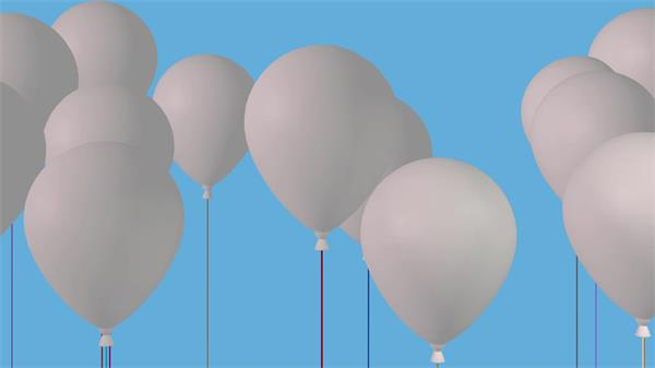 欢乐喜庆洁白气球移动汇聚派对场景布置屏幕背景视频素材