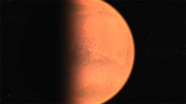 神秘宇宙星球太阳照射半个火星自转运动太空场景舞台视频素材