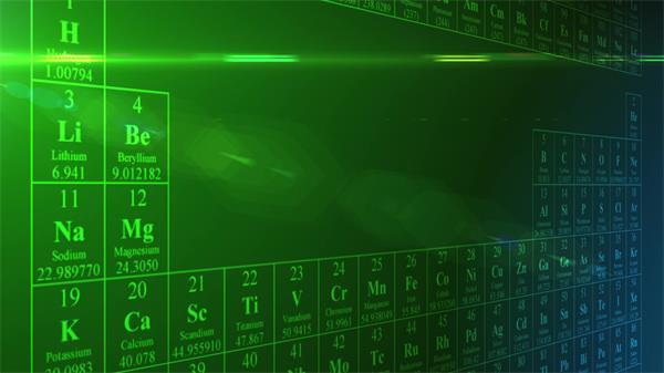 绿色背景化学物质名字元素周期表滚动展现LED屏幕背景视频素材