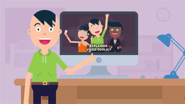 AE模板 趣味卡通人物运动元素场景渲染动画图标幻灯片模版 AE素材