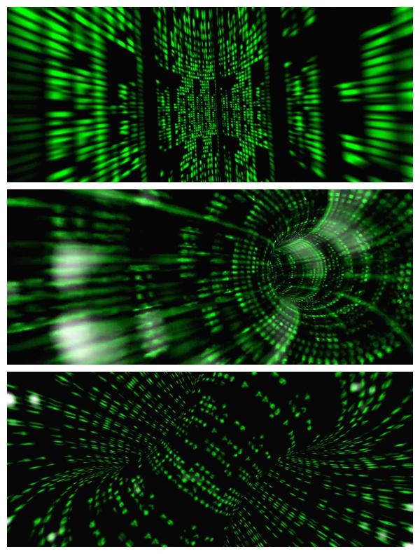 3款动感虚拟空间绿色数据传输线性粒子视觉运动屏幕LED背景视频素