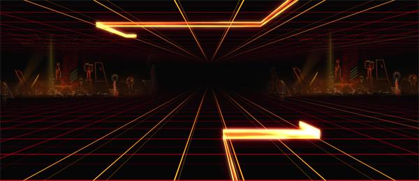 未来科技3D空间网格光束线条运动变化视觉工厂动态背景视频素材