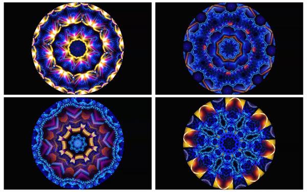 色彩斑斓圆形万花筒抽象变化转动图形纹理LED屏幕背景视频素材