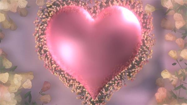 可爱粉红爱心旋转鲜花渲染情人节婚礼场景动态舞台背景视频素材