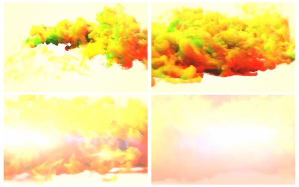 AE模板 酷炫彩色烟雾五彩斑斓炫光优雅动态动画幻灯片展示模版 AE