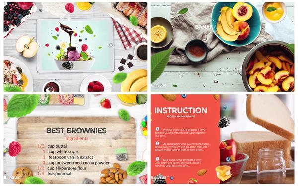 AE模板 时髦鲜味甜点美食食谱烹调视频教程引见幻灯片头模板 AE素