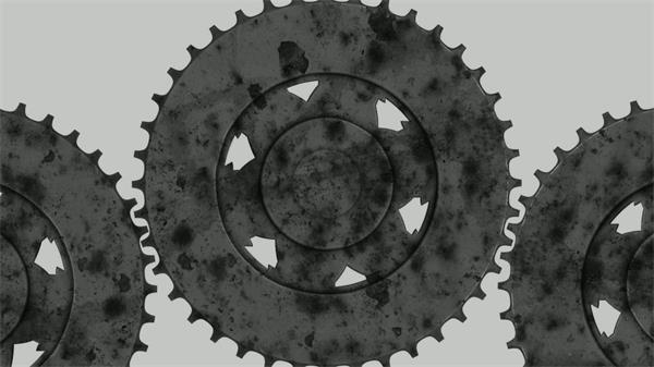 复古陈旧机械齿轮旋转运动科技生产运作屏幕背景视频素材