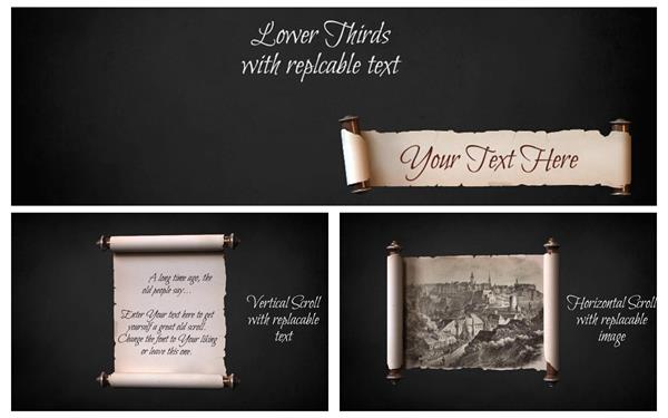 AE模板 复古典雅卷轴拉伸展示图文切换过渡宣传动画片头模板 AE素