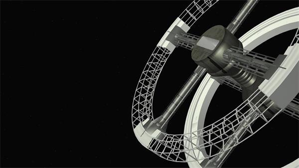 神秘宇宙空间站宇宙卫星旋转探测运作信号传输卫星动态视频素材