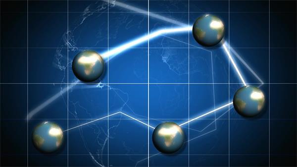 科幻地球光线穿越大数据互联网信息传输科技屏幕背景视频素材