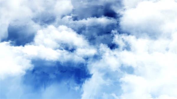 抽象梦幻深蓝天空场景镜头穿越云层视觉冲击开场背景视频素材