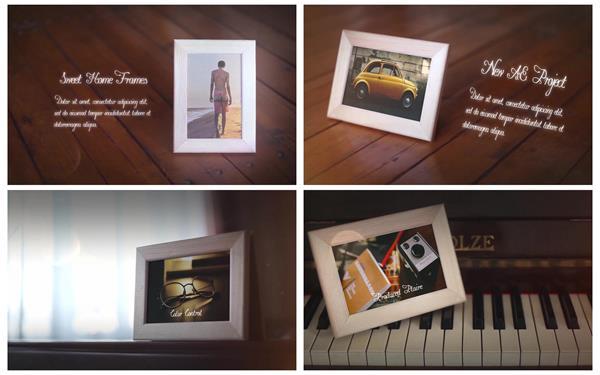 AE模板 甜蜜唯美家庭场景渲染电子相册相框幻灯片揭示模板 AE素材