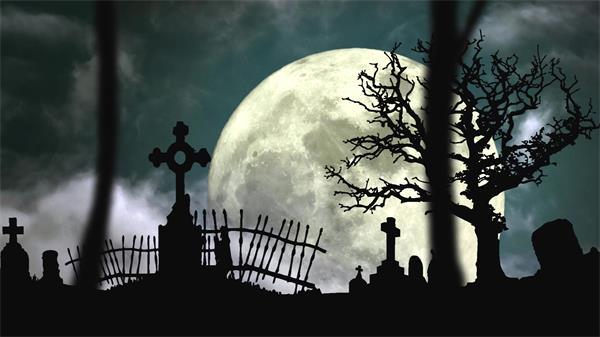 暗黑恐惧黑夜场景挪动玉轮坟场渲染万圣节气氛配景视频素材