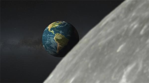 宇宙太空月球表面观看地球旋转变化视觉动态背景视频素材