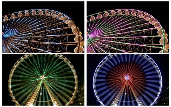 繁华城市夜晚娱乐场所摩天轮变幻多种颜色旋转转动特写高清视频