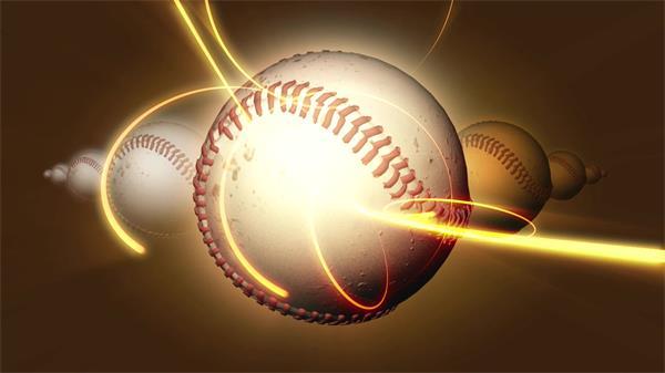 梦境棒球陈列旋转炫酷光束盘绕幻化体育活动场景舞台视频素材