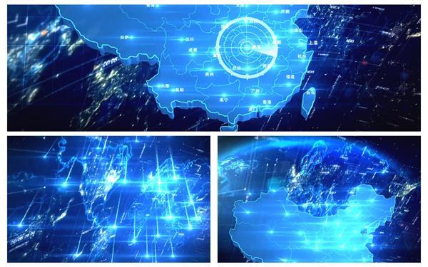 高新企业科技流星光束渲染中国地图定位扫描商务演示视频素材
