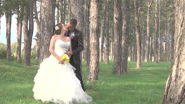 阳光明媚清新大自然森林公园新人拍摄婚纱照现场唯美高清视频实拍
