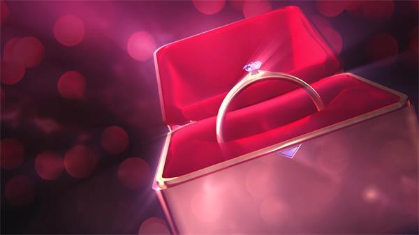 [4K]奢华高尚钻石戒指盒子旋转婚礼求婚舞台屏幕配景视频素材