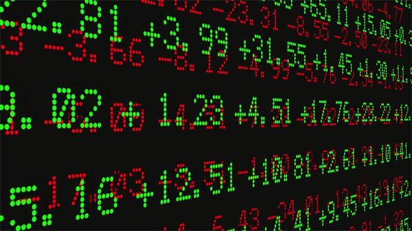 现代化股市屏幕数字跳动股票交易场景LED动态背景视频素材