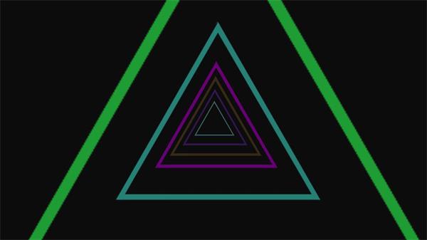 虚拟3D空间色彩三角形缩放隧道循环视觉冲击背景视频素材