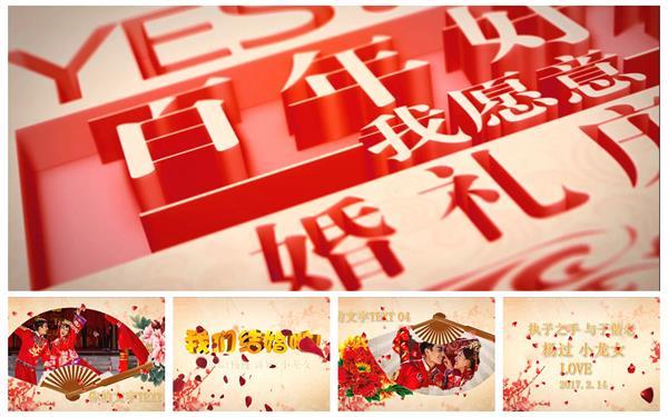 会声会影X6模板 大气古典传统文化折扇花瓣渲染喜庆婚礼开场片头