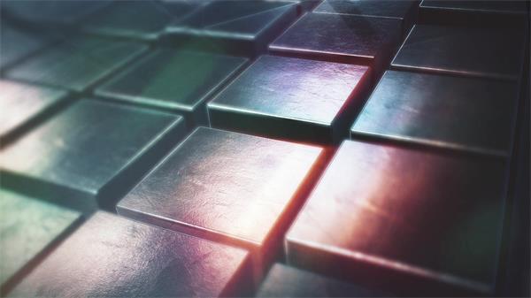 炫酷科幻3D空間閃亮金屬立方體上下移動變化場景視頻素材