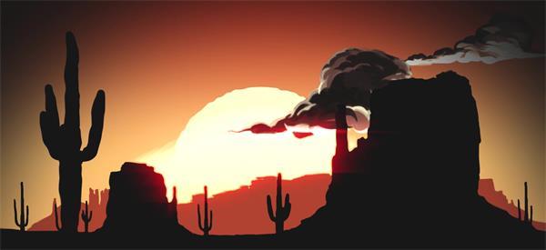 卡通儿童动画沙漠日出太阳升起炎热天气电影开场背景视频素材