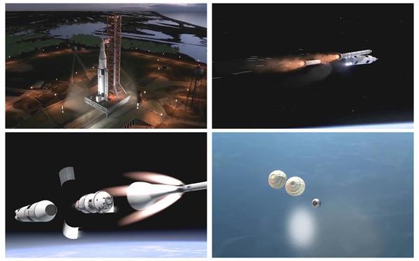 探究将来科技火箭发射太空分体卫星探测宇宙地球空间视频素材
