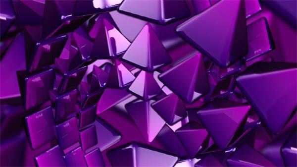 紫色颗粒三角体旋转运动眼花缭乱视觉冲击舞台背景视频素材