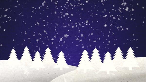 洁白雪花漂浮树林弹出圣诞节日氛围场景儿童卡通动画视频素材