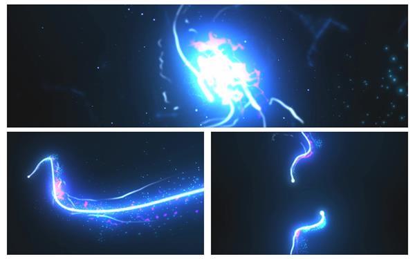 会声会影X6模板 震撼绚丽粒子光束线条滑动碰撞组合企业LOGO标志