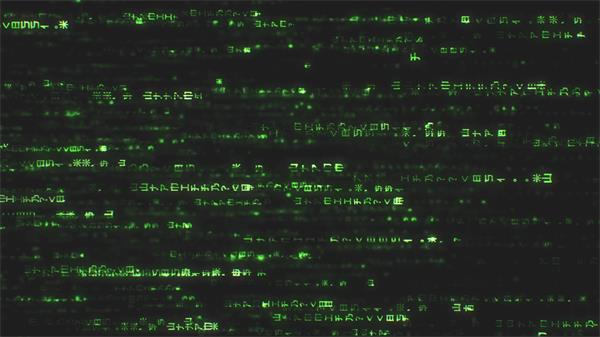 [4K]动感绿色字体符号串移动破解密码数据传输舞台背景视频素材