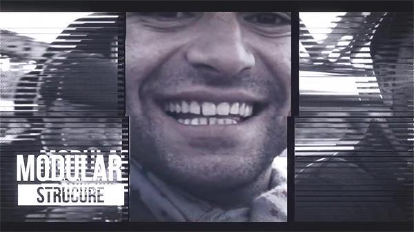 AE模板 时尚创意扭曲闪烁效果过渡文字动画曲线幻灯片模版 AE素材