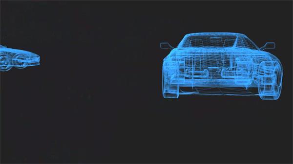 抽象3D场景虚拟构建汽车线条轮廓架构旋转行驶背景视频素材