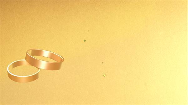 甜蜜高贵婚礼屏幕场景戒指旋转光效星光闪烁变幻背景视频素材