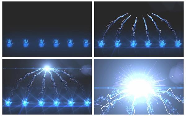 震撼动感线性波纹粒子散发强大光效动态视觉效果背景视频素材