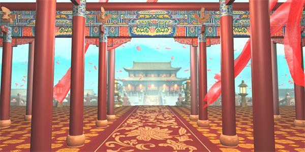 唯美粉红色花瓣纷飞古代建筑皇宫宫廷动态视觉效果背景视频素材